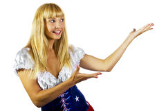 patriotisk amerikansk flicka Fotografering för Bildbyråer
