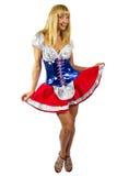 patriotisk amerikansk flicka Arkivbilder