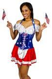 Patriotisk amerikansk flicka Royaltyfri Bild