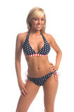 patriotisk bikiniblondin Royaltyfri Fotografi