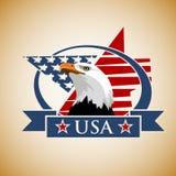 Patriotisk etikett USA Arkivfoto