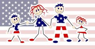 patriotisk familj royaltyfri illustrationer