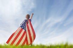 Patriotisk ferie lycklig unge Royaltyfria Bilder