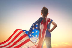 Patriotisk ferie lycklig unge Royaltyfri Fotografi