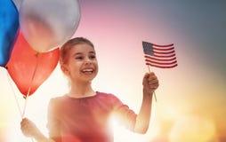 Patriotisk ferie och lycklig unge Royaltyfri Bild