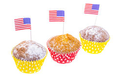 Patriotisk ferie 4th juli: muffin med amerikanska flaggan Arkivfoton
