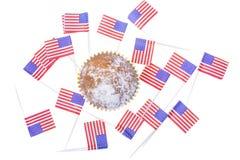 Patriotisk ferie 4th juli: muffin med amerikanska flaggan Royaltyfria Bilder
