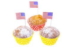 Patriotisk ferie 4th juli: muffin med amerikanska flaggan Royaltyfri Bild