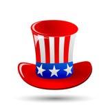 Patriotisk hatt för farbror Sam för 4th av hälsningar för kort Juli för offentlig ferie i vektorformat Tecknad film- eller klotte Royaltyfri Foto