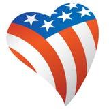 Patriotisk illustration för vektor för amerikanska flagganUSA hjärta stock illustrationer