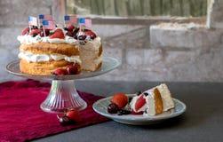 Patriotisk kaka för ängelmat med bär royaltyfria bilder