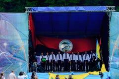 Patriotisk konsert Yavorina i västra Ukraina arkivfoto