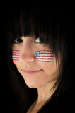 patriotisk kvinna Royaltyfria Foton