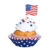 Patriotisk muffin som isoleras på vit Arkivfoton