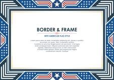 Patriotisk ram eller gräns, med amerikanska flagganstil och färgdesign stock illustrationer