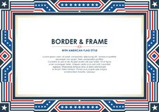 Patriotisk ramgräns, med amerikanska flagganstil och färgdesign Vektor Illustrationer