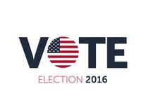 Patriotisk 2016 rösta affisch Presidentval 2016 i USA Typografisk baner med den runda flaggan av Förenta staterna Arkivbild