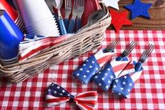 Patriotisk stilleben för picknicktabell Fotografering för Bildbyråer