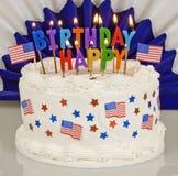 Patriotisk 4th av den Juli födelsedagkakan Arkivfoto