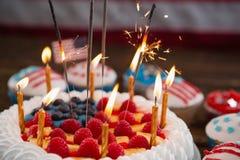 Patriotisk 4th av den juli kakan och muffin Arkivbilder