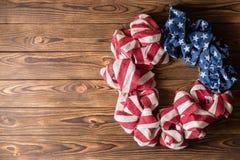 Patriotisk USA krans för självständighetsdagen royaltyfri bild