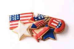 Patriotiska kakor för 4th Juli fotografering för bildbyråer
