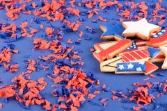 Patriotiska kakor för 4th Juli Royaltyfri Foto