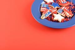 Patriotiska kakor för 4th Juli Royaltyfria Bilder