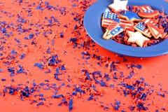 Patriotiska kakor för 4th Juli Arkivbilder