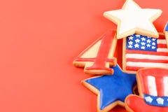 Patriotiska kakor för 4th Juli Arkivfoto