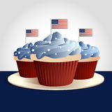 patriotiska muffiner royaltyfri illustrationer
