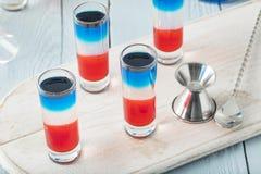 Patriotiska röda vita och blåa skott Royaltyfria Foton
