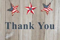 Patriotiska USA tackar dig meddelandet Royaltyfria Foton