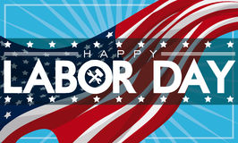 Patriotiskt baner för arbets- dag med amerikanska flaggan, vektorillustration Arkivbilder