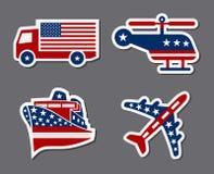 patriotiskt etikettstrans. royaltyfri illustrationer