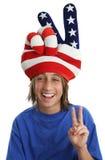 patriotiskt fredtecken för pojke Royaltyfri Foto