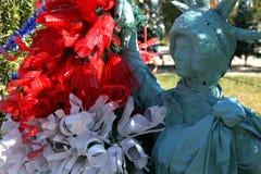 Patriotiskt julträd i Fort Myers, Florida, USA royaltyfria bilder