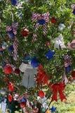 Patriotiskt julträd i Fort Myers, Florida, USA Arkivfoto