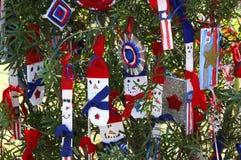 Patriotiskt julträd i Fort Myers, Florida, USA Arkivbild