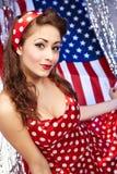 patriotiskt sexigt för amerikansk flicka Arkivbild