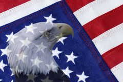 Patriotism. An American Flag with Bald Eagle Stock Photo