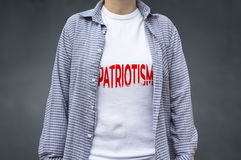 Patriotism print on t-shirt, political message. Royalty Free Stock Photography