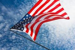 Patriotisme Etats-Unis américains, bannière de ciel de drapeau blanche images libres de droits