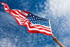 Patriotisme Etats-Unis américains de ciel de drapeau, patriotique photographie stock libre de droits