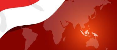 Patriotismo branco vermelho da bandeira do teplate do lugar do mundo da bandeira do mapa de Indonésia Imagens de Stock Royalty Free