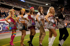 Patriots cheerleaders. New England Patriot cheerleaders in Halloween costume at Gillette Stadium, the home of Super Bowl champs. New England Patriots NFL Team Stock Images