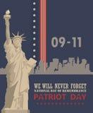 Patriottagesvektorplakat mit Freiheitsstatuen 11. September 9 / 11 mit Twin Towern Lizenzfreie Stockfotos