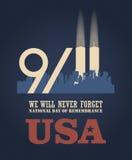 Patriottagesvektorplakat mit Geschäftsweltmitte 11. September 9 / 11 mit Twin Towern Lizenzfreies Stockfoto