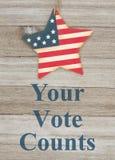 Patriottisch de stemmingsbericht van de V.S. Uw Stemtellingen royalty-vrije stock foto's