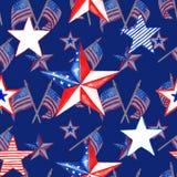 Patriottisch decoratief rood, wit en blauw naadloos patroon met de vlaggen en de sterren van de V.S. op marineblauwe achtergrond  stock illustratie